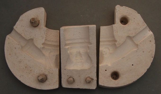 Gietmal van onbekende maker, waarschijnlijk een hobbyist die een mal heeft getrokken van de Goedewaagen kop