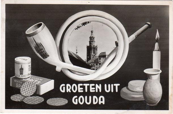 Ansichtkaart Groeten uit Gouda, 1949