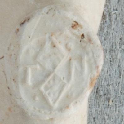 TN, Hielmerk van Leidse pijpmaker ca 1640-1650