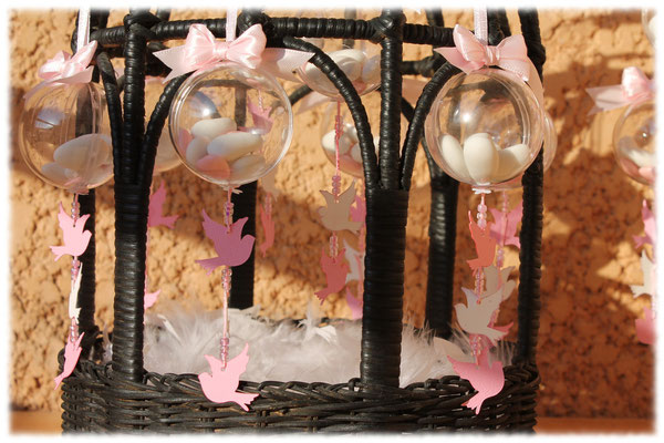 Dragées communion colombe rose et blanc