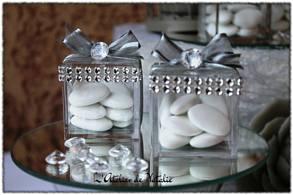 Dragées Mariage Chic et Diamant blanc et argenté