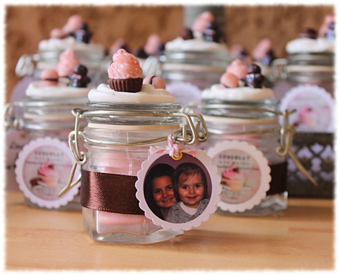 Dragées baptême gourmandise rose blanc et marron avec photo