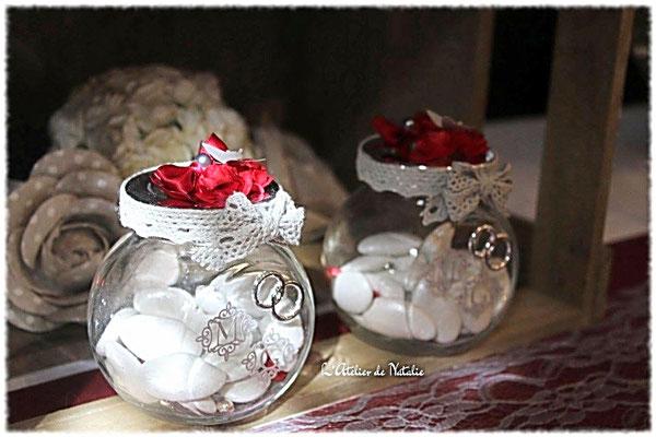 Dragées Mariage Champetre rustique romantique bordeaux et blanc