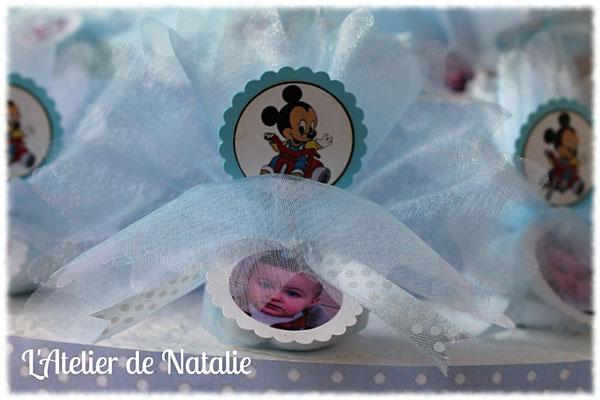 Dragées bapteme Mickey bleu et blanc avec photo