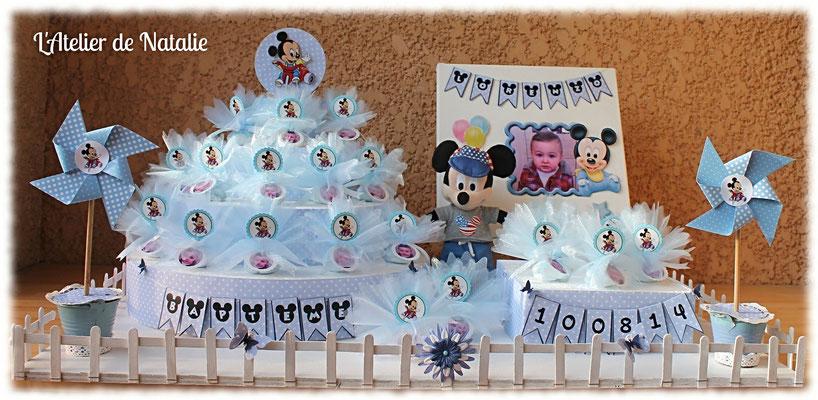 Dragées bapteme Mickey bleu et blanc