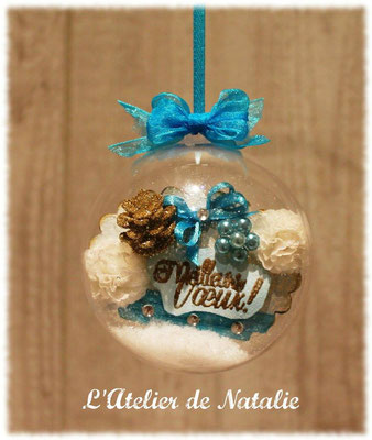 Boule de Noël Shabby Chic avec Texte tons turquoise bleu et blanc