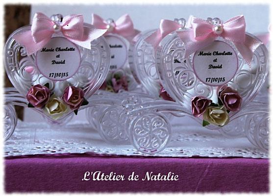 Dragées Mariage Carosse Rose et blanc