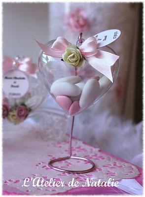 Dragées Mariage coeur rose et blanc