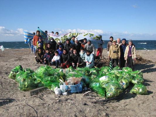 この日の成果:参加者37人、ゴミの総重量470kg キャップの数380個
