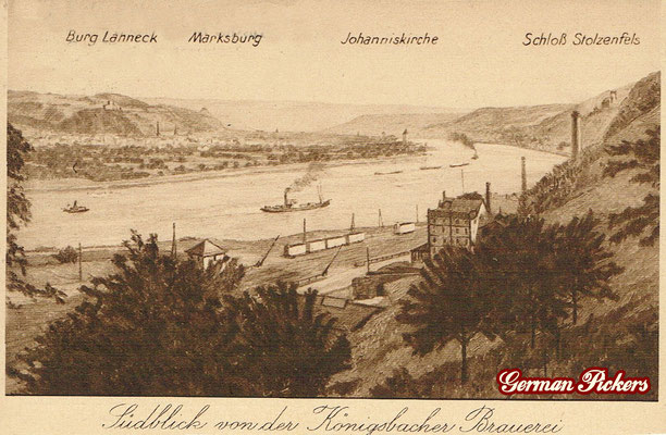 AK / Foto - Ansicht der Königsbacher Brauerei, Schloß Stolzenfels, Johanniskirche, Marksburg, Burg Lahneck