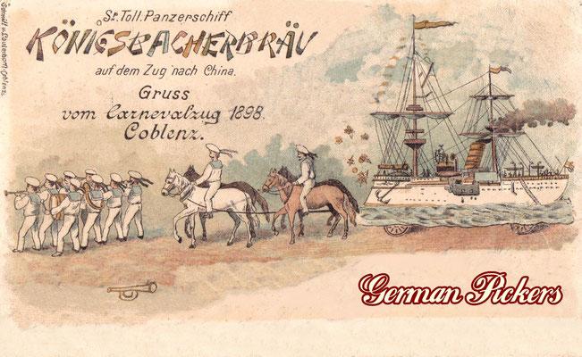 AK Grüße vom Carnevalzug Coblenz 1898 - Königsbacher Brauerei / Bräu Koblenz