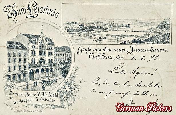 AK / Foto - Gasthaus zum neuen Franziskaner / zum Leistbräu um 1900 aus Koblenz