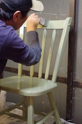 オスモカラー ウッドワックス(オパーク)老竹色2回塗り