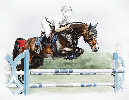 Pferdeportrait als Auftragsarbeit in Aquarell. Format 40 x 50 cm. Fotovorlage: © FotobDesign Feldhaus