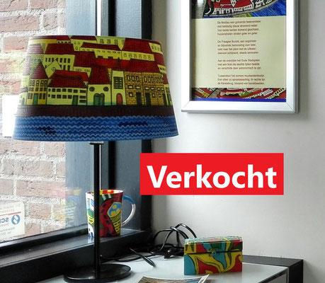 Praag - kap doorsnede 34 cm - mixed media - verkoopprijs € 150