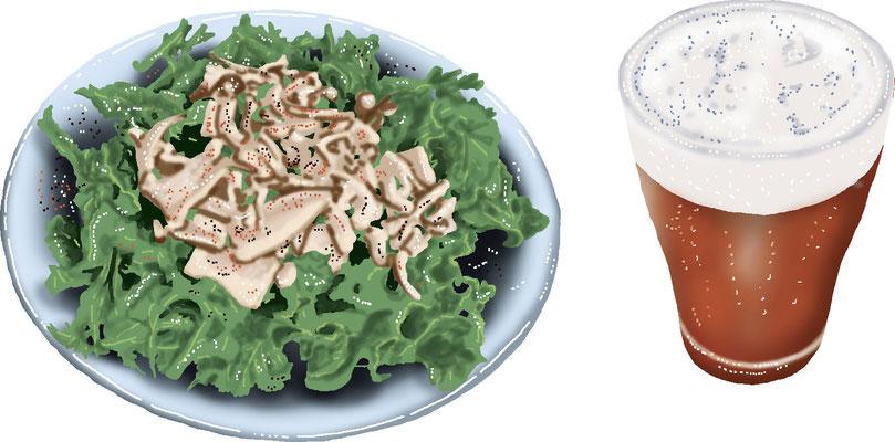 料理 食事 地ビール きのこソテーサラダ
