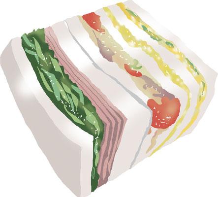 料理 食事 サンドイッチ ハム野菜サンド