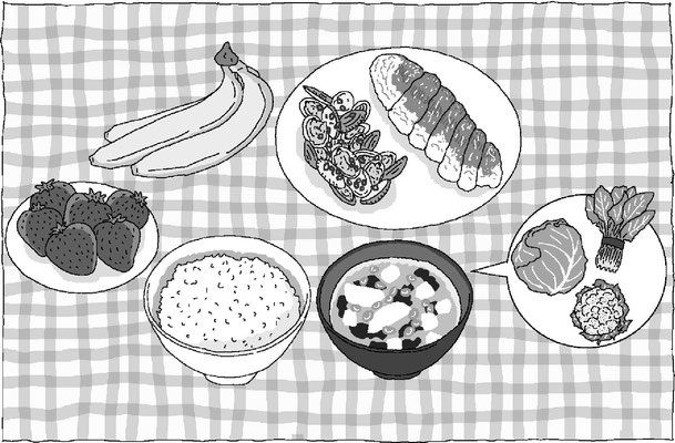 料理 栄養 バランス 食事 野菜 果物 ご飯 みそ汁