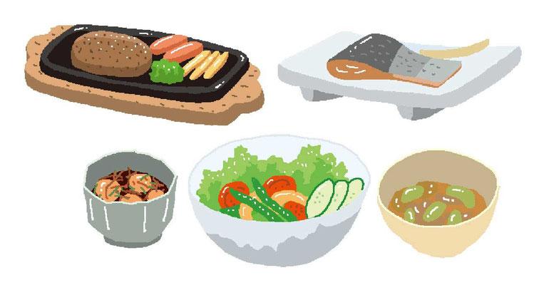 料理 ハンバーグ 焼魚 惣菜 サラダ 和食 定食