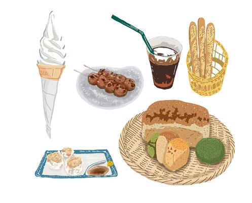 料理 ソフトクリーム 団子 コーヒー バゲット シュウマイ パン