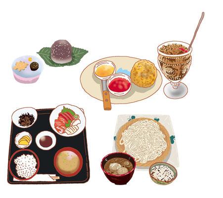 料理 和菓子 水まんじゅう スコーン ジャム コーヒー 定食 蕎麦