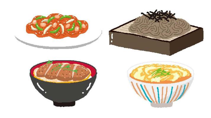 料理 ナポリタン ざるそば カツ丼 親子丼