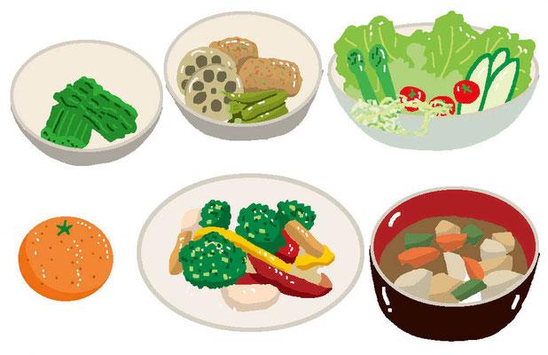 料理 食事 野菜 おかず 果物