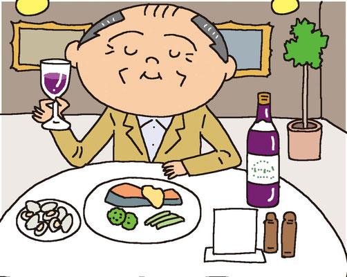 料理 食事 ワインを楽しむシニア男性