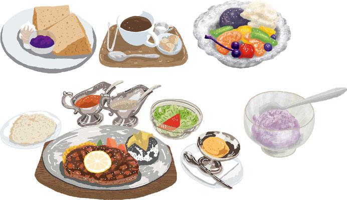 料理 カフェ スイーツ ケーキ あんみつ ステーキ カレー アイス セット