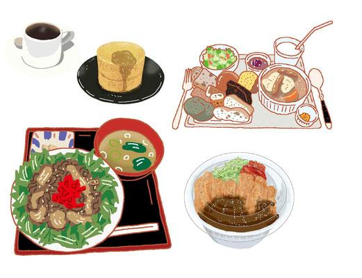 料理 パンケーキ ホットケーキ カフェ コーヒー ランチセット サラダ 焼き肉 テイクアウト カツカレー