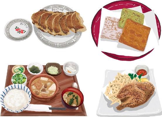 料理 餃子 煎餅 定食 チキンソテー フライドポテト