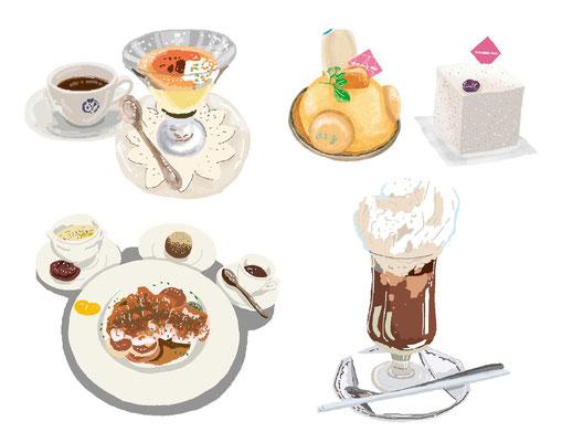 料理 パフェ ケーキ 洋菓子 ステーキ  フレンチ コーヒーフロート