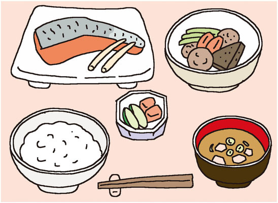 料理 食事  栄養 バランス 野菜 魚