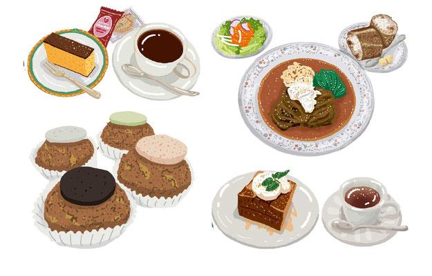 料理  カフェ コーヒー カステラ ケーキ フレンチ 洋食