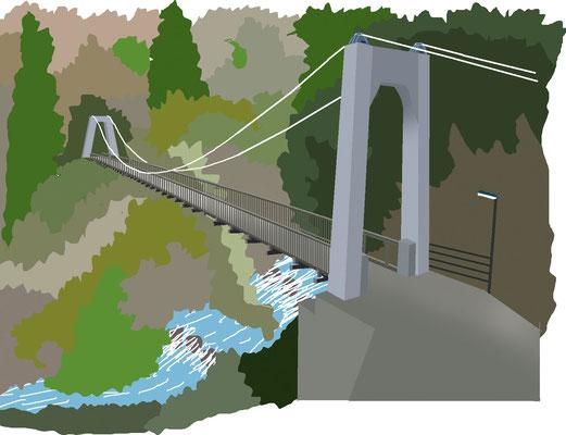植物 自然 緑 庭園 公園 多摩川 吊り橋 もえぎ橋