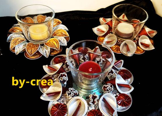 Kunstwerke aus Alukaffeekapseln - Teelicht
