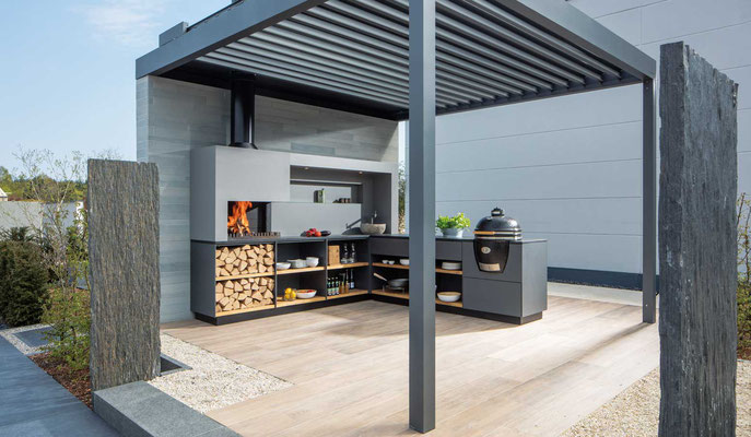 outdoor k chen in modulbauweise ausgezeichnet und nicht von der stange scharnweber garten. Black Bedroom Furniture Sets. Home Design Ideas