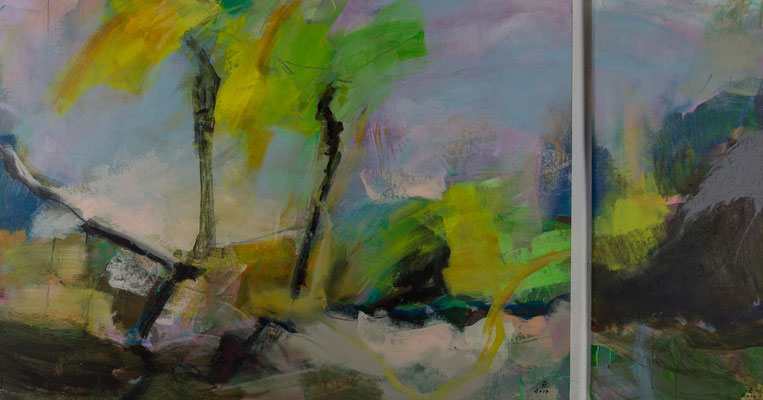 Natur abstrakt 1+2 Diptychon 2017   105x150   105x45