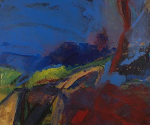 Landschaft blau-rot  2017