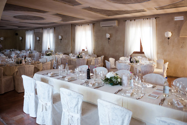 La sala per il ricevimento al ristorante