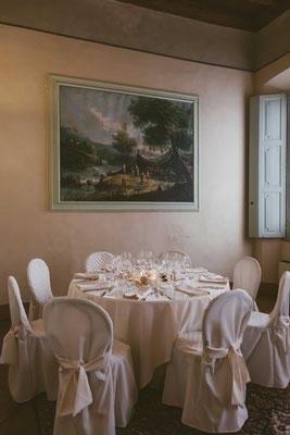 La sala per il ricevimento nuziale a Villa Toscanini