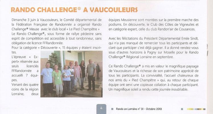 Article sur le Rando-challenge du 2 juin 2013