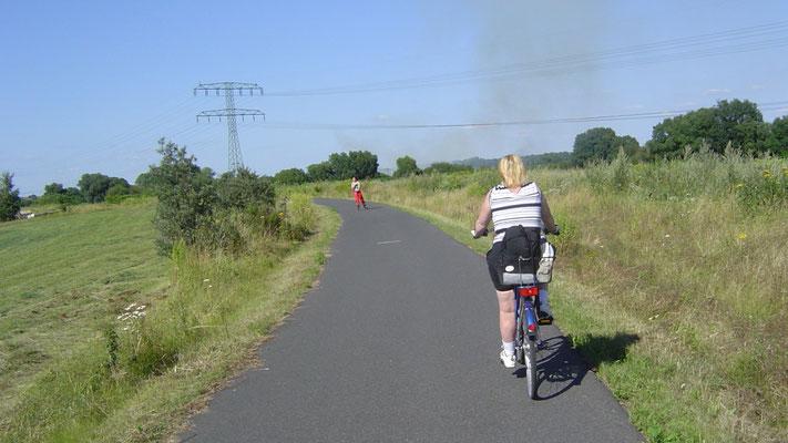 Vorsicht - Gegenverkehr! Etwa 10 km vor Görlitz beginnt eine geteerte Strecke, die auch von Skatern gern genutzt wird