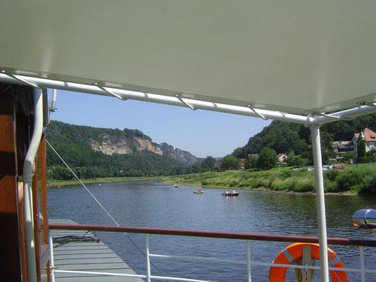 Elbeaufwärts auf dem Raddampfer