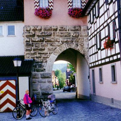 Mühlheim liegt auf einem kleinen Berghang. Auf den letzten Metern mussten wir die Fahrräder erstmals schieben, weil es doch recht steil hinauf geht.