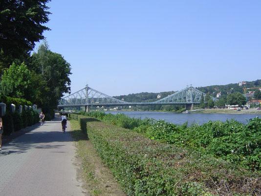 Elbeabwärts Richtung Dresden: das Blaue Wunder