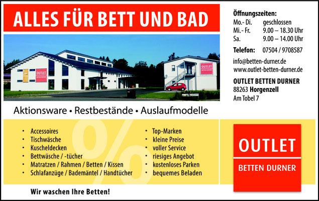 Anzeigen und Flyer für Outlet Betten Durner
