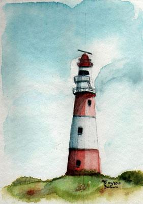 Leuchtturm Borkum - Aquarell - Postkarte - 2011
