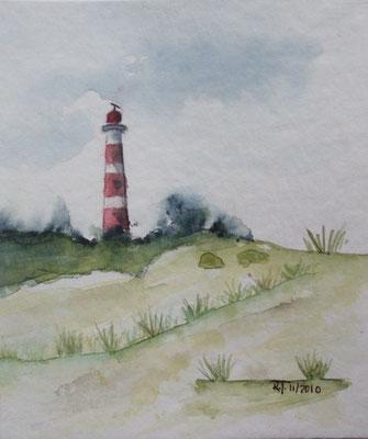 Leuchtturm Borkum - Aquarell - Postkarte - 2010