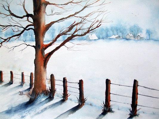 Winter in Altlünen - Aquarell - 28 x 28 cm - available - zu verkaufen